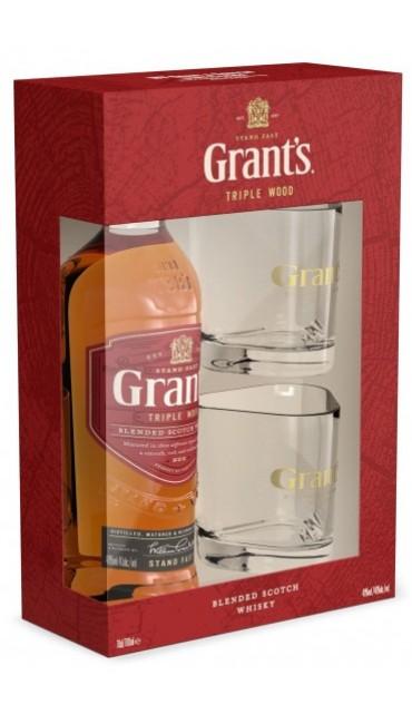 Набор Виски Grant's Triple Wood 0.7 л 40% + 2 стакана